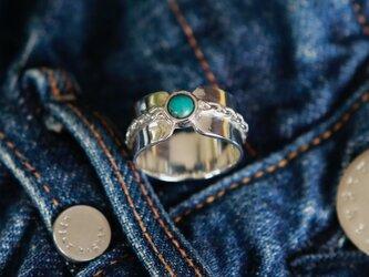 Braidring ⭐︎ Turquoise /ターコイズの三つ編みリング(幅広)の画像