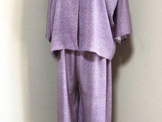 ☆江戸小紋・双葉葵柄のセットアップ  ワイドパンツスーツ 薄紫☆の画像
