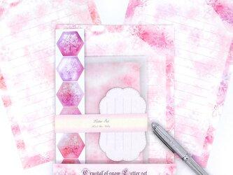 雪の結晶レターセット ピンク3色の画像