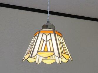 オレンジの幾何学(ステンドグラスペンダントライト)吊り下げ照明・ガラス  Lサイズ・44の画像