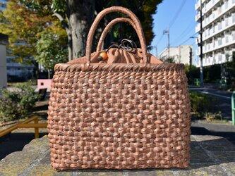 山葡萄籠バッグ | ダイヤ編み | 巾着と中布付き | (約)幅32cmx高さ24cmx奥行12cm | 人気商品の画像