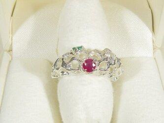 ルビーとエメラルド、再生ダイヤモンド、SV925の指輪(リングサイズ:13.5号、サイズ変更可、ロジウムの厚メッキ)の画像