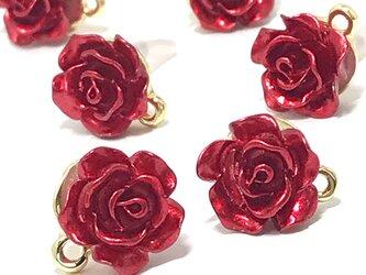 【ピアス】赤い薔薇ピアス 6個【バラの花 ピアスパーツ ハンドメイド素材】の画像