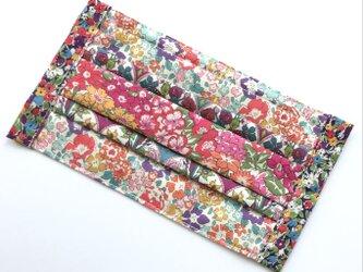 【パッチワークマスク/暖色の系花柄】4種類の花柄リバティプリント生地使用 表地:コットン裏地:コットンダブルガーゼ の画像