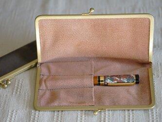 真鍮使いの口金ペンケース(3本用)/ライトグレー×アッシュピンクの画像