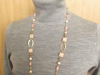 Necklace ピンクソープストーン チェコ(N1233)の画像