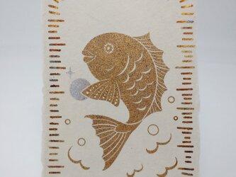 ギルディング和紙葉書 鯛 黄混合箔の画像