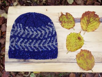 アイスランドスタイルの編み込み帽子 / Denim×Grey(デニム×グレイ)の画像