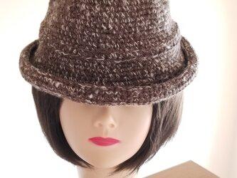 手編み中折れハット茶白の画像
