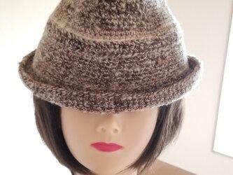 手編み中折れハット茶ベージュの画像