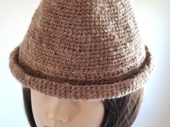 手編み中折れハット黄茶ベージュの画像
