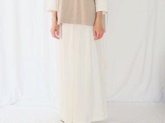 ホワイトリネン♡フロントタックワイドパンツ♡リラックスコーデ・シーズンレス ・ガウチョパンツの画像