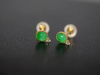 06 受注制作 k18イエローゴールド 一粒 ピアス 天然 緑 翡翠 A貨 シンプル ダイヤモンドの画像