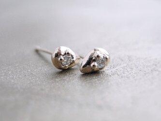 ダイヤしずくスタッドピアス K14 PinkGold 14金ピンクゴールド ダイヤモンド 天然石の画像