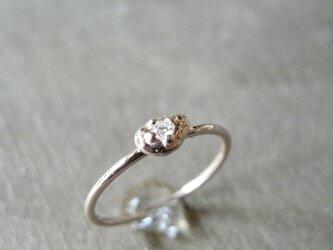 ダイヤモンドリング しずく K14 ピンクゴールド 14金 ダイヤ 指輪 K14PG 天然石の画像