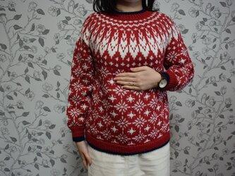 赤のトリコロールセーターの画像