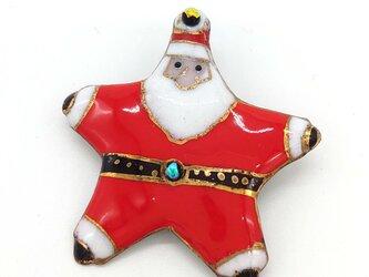 [受注制作]星形サンタクロースの七宝焼ブローチの画像