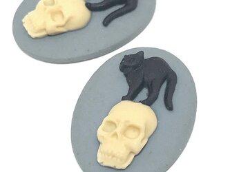 黒猫と骸骨のカメオ 25x18mm 1個【骸骨カボション ハロウィン ハンドメイド素材】の画像