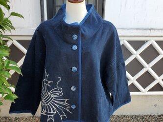 着物リメイク 手作り 藍 ふろしき ジャケットの画像