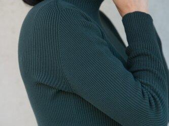 Organic Cotton無縫製バイカラーリブタートルセーター【Mサイズ/ヒイラギ】の画像