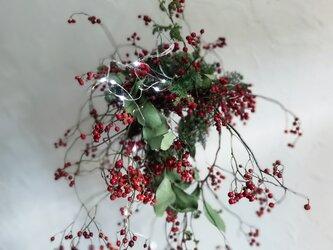 野バラの実のシャンデリアリースの画像
