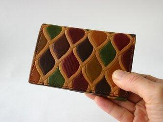左利き用 手染め手縫い革財布 Mini うろこレトロの画像