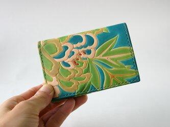 手染め手縫い革財布 Mini 牡丹青 右利き用の画像