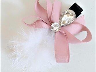 ¶ new antique fur ¶ ホワイトミンク&ファンシーストーン付リボンヘアクリップの画像