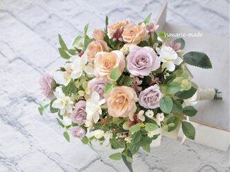 春のローズと水仙 スワッグ・花束:水仙 バラ パステルの画像