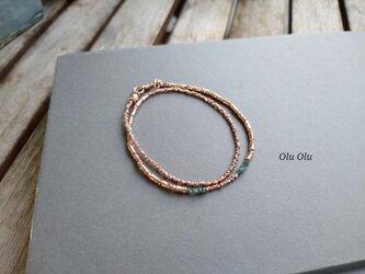 オーダーメイド品 ブルーグリーンダイヤモンド&ロゼシルバーのブレスレットの画像
