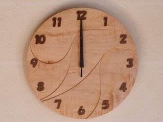 無垢の木の電波掛け時計 かえで 0017の画像