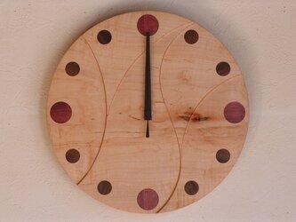 無垢の木の電波掛け時計 かえで 0018の画像