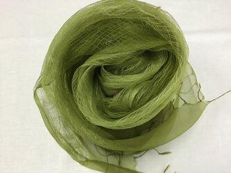 草木染め シルクストール コブナグサ グリーンの画像