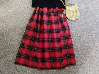 ★80㎝まで★赤いチェックの巻きスカート風★裏地付★受注製作★の画像