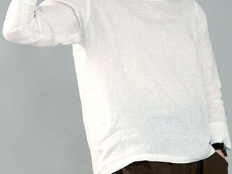 【wafu】雅亜麻リネン インナー ブラウス 袖スリット 黄金比率のネック角度/白色 Lサイズ p012a-wht1-lの画像