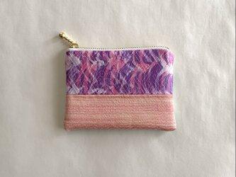 絹手染ミニポーチ(継・ピンク紫オレンジ/緑系)の画像