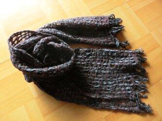 ベビーアルパカ・シルクテープの軽いマフラーの画像