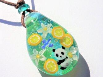 《レモンとパンダ》ペンダント ガラス とんぼ玉 レモン パンダの画像