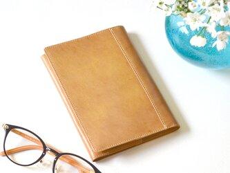 【ナチュラルベージュ】ゴート(山羊)革製ブックカバー  文庫本サイズ  MK-1401-S2の画像
