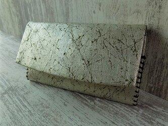 オーダー 懐紙入れ コットン紬風グリーン色地製 錫箔 真綿箔の画像