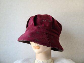 魅せる帽子☆スエードのリバーシブルクロッシュ~ブラウン&ボルドーの画像