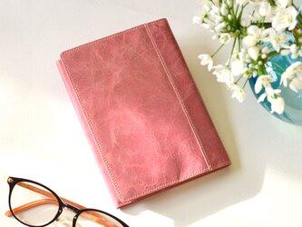 【イタリアンレザー:グレイッシュピンク】革製ブックカバー  文庫本サイズ  MK-1401-S3の画像