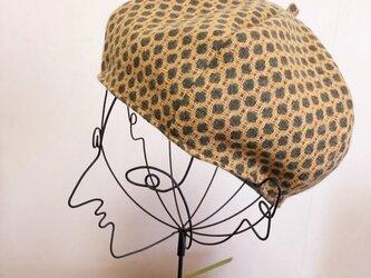 レトロドット柄ベレー帽の画像