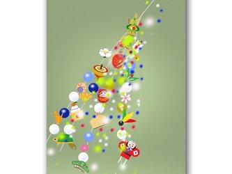 「願いが新しい心を生む」 正月 小正月 新年 ほっこり癒しのイラストポストカード2枚組 No.1230の画像