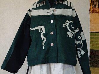 筒描き(グリーン)刺し子ジャケット 201118の画像