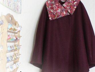 お値引きLIBERTYリバティ コーデュロイ&ウール100 大き目カラーポンチョ♡の画像