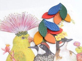 "Kujaku ""Colorful""【レザーピアス/イヤリング】の画像"