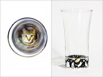 愛猫の写真で作るぐい吞み・螺鈿銀黒【受注制作】の画像