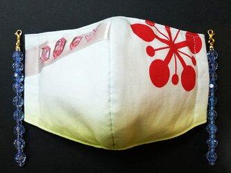 UC 立体 布 インナー マスク 伝統 和柄 和風 可愛い かわいい おしゃれ 梅鉢紋 派手を司る神 祭り 遊郭 チャーム付きの画像