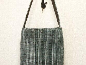 裂き織り ななこ織のワンショルダー(グリーン系)の画像